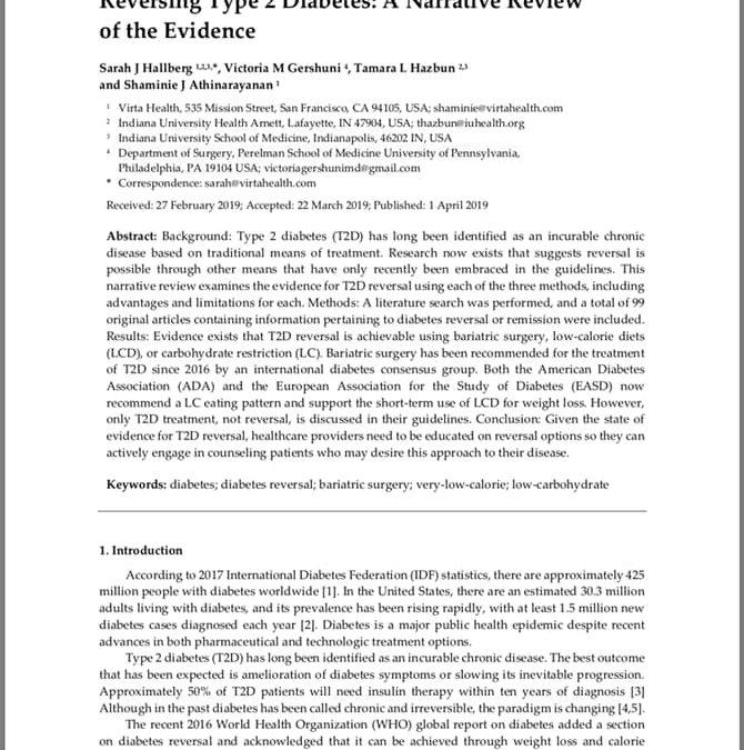 Hallberg (2019) Remise diabetu 2.typu: přehled důkazů