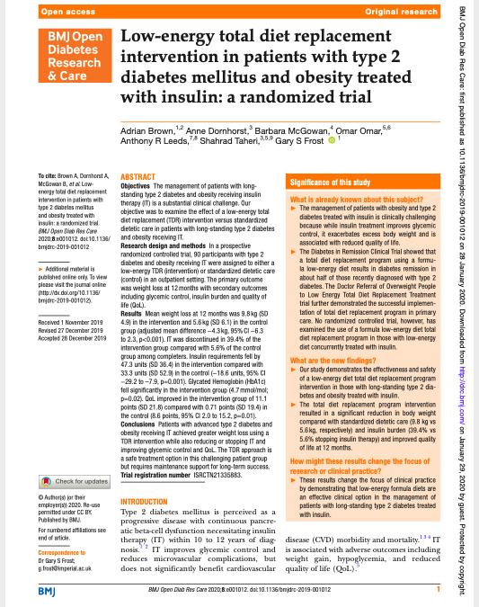 Brown (2020) Nízkoenergetická celková náhrada stravy uobézních pacientů sdiabetem 2.typu léčených inzulinem – randomizovaná studie